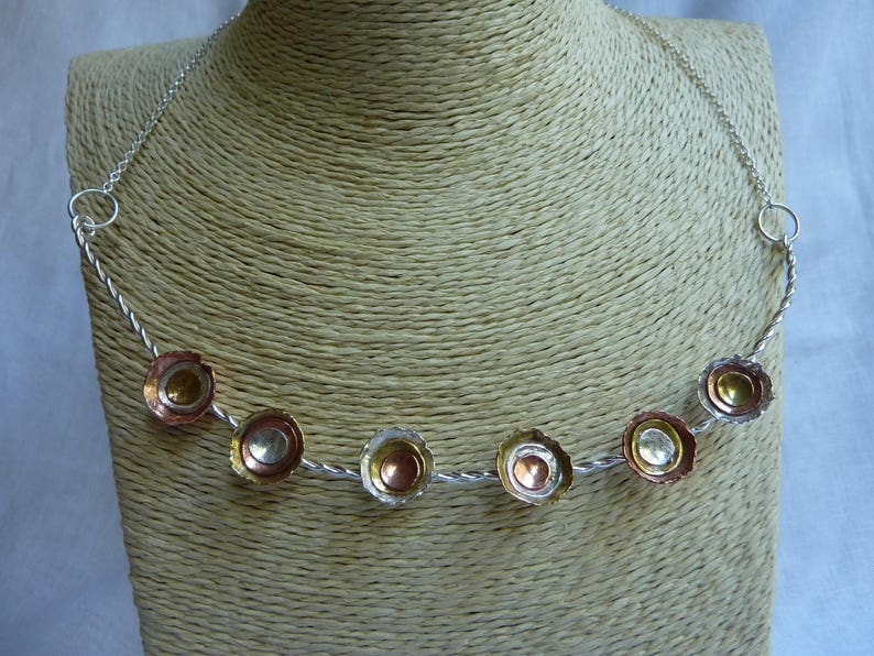 Twisted wire necklace with sterling silver copper and brass image 0