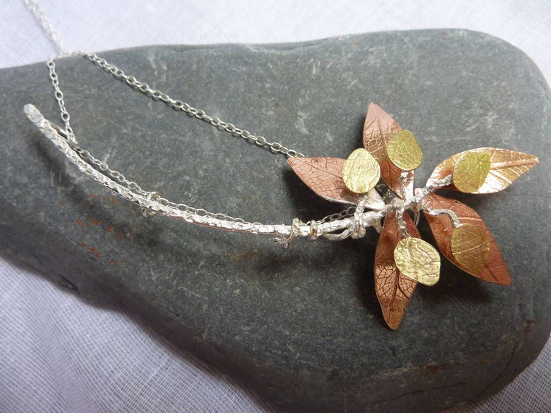 Autumn Leaves Necklace:  Handmade Sterling Silver Copper and image 0