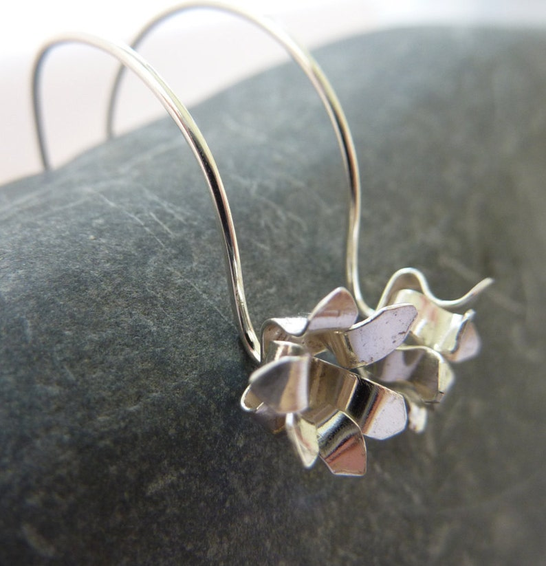 Chrysanthemum flower drop earrings: Handmade sterling silver image 0