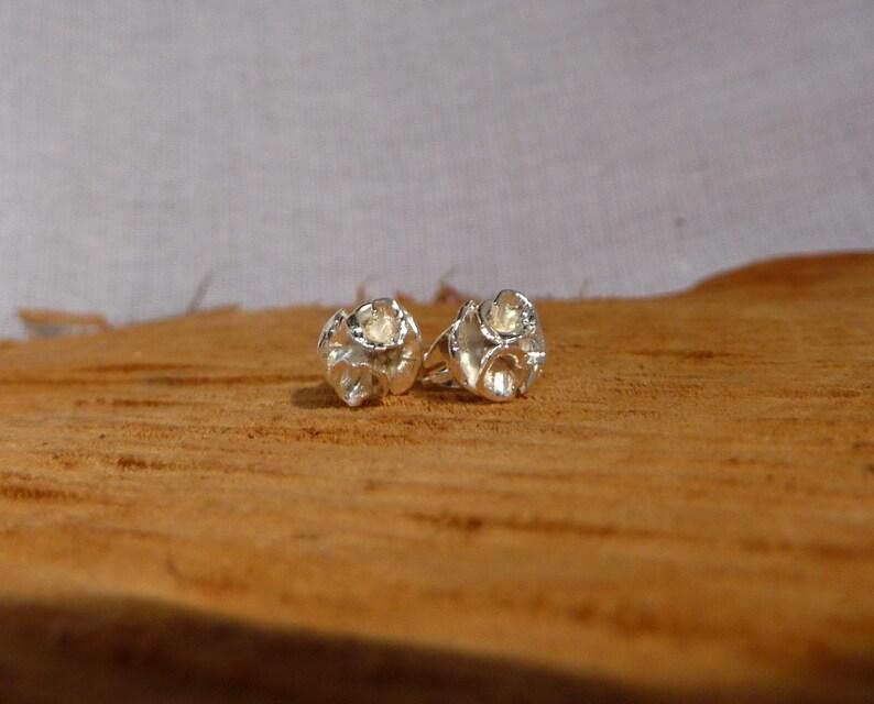 Rose flower stud earrings Handmade sterling silver image 0