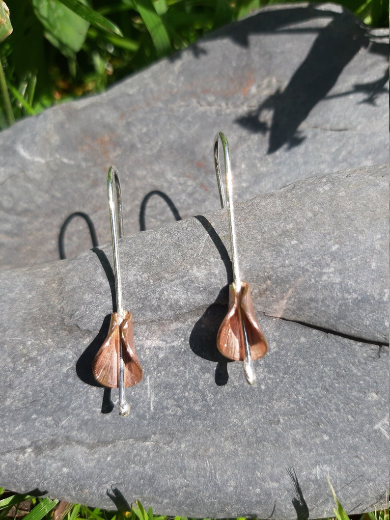 Calla Lily flower drop earrings: Handmade sterling silver and image 0