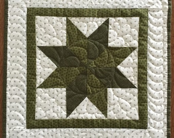 Quilted wall hanging STAR table topper Ready to ship