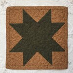 Modern Miniature Start Quilt - Green and Tan - Mug Rug - Candle Mat- Machine Quilted - Ready to ship - Mini Quilt