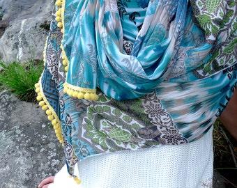 Indian Print Chiffon Shawl, Blue Pompom Scarf, Large Chiffon Scarf, Sheer Shawl Wrap, Oriental Scarf, PomPom Trim Shawl, Women Fashion Scarf