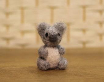Handmade miniature koala bear, needle felted koala, tiny wool animal, made to order