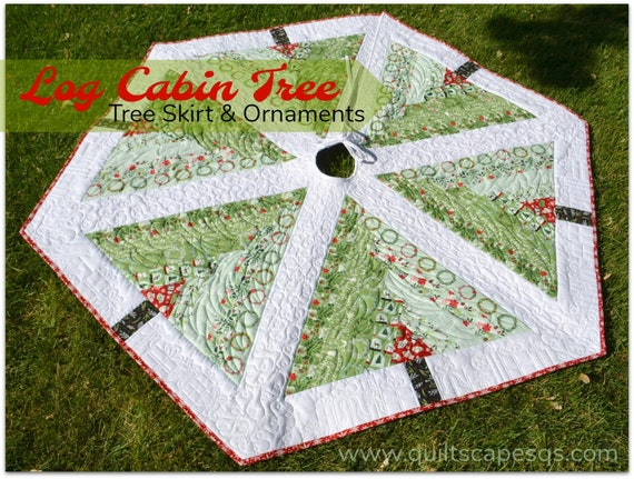 Log Cabin Christmas Tree Quilt.Log Cabin Tree Quilted Tree Skirt Ornaments Pattern