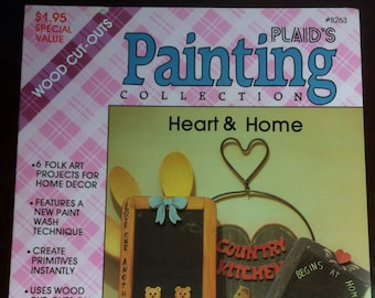 Pattern Plaid's Painting Collection 8263 Heart and Home Primitives Wood Cutout Paint Techniques by Bemby Vintage 1987 1980s 80s pattern