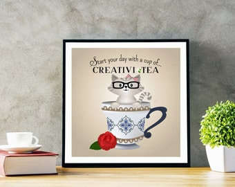 Instant Download. Original Illustration of Cute Cat in Tea Cup. Start Your Day with Cup of Creativi-TEA!