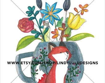 Whimsical Teacup Fox Watercolor Painting Flowers Artist Paintbrushes. Instant Download.
