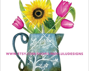 """Shabby Chic Vintage """"Le Jardin"""" Pitcher Sunflowers Tulips Watercolor Painting–Instant Download"""