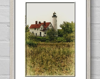 Point Iroquois Lighthouse-Nautical Wall Art-Coastal Photography-Michigan Lighthouse-Coastal Wall Art-Fine Art Photography-Vertical Print