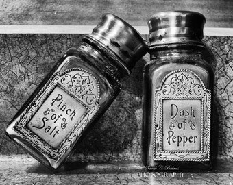 B&W Kitchen Art-Unmatted Photo-Square Print-Salt-Pepper-Salt and Pepper Shakers-Still Life-Fine Art Photograph-8x8/10x10/12x12/16x16/20x20