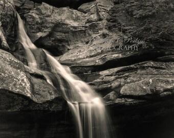 24x36-Waterfall Photograph-Ohio Photography-B&W Wall Art-Fine Art Photography-Living Room Wall Art-Black White Photograph-Nature Photography