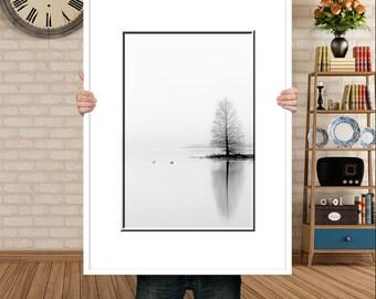 B&W Print-Foggy Landscape-White Wall Art-Lake Photograph-Waterscape-Vertical Print-Living Room Wall Art-Tree Photography-Moody Wall Art