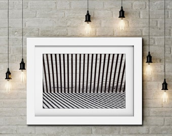 B&W Print-Abstract Art-Beach Fence-Beach Photography-Abstract Lines-Horizontal Wall Art-Shadows Wall Art-Modern Wall Art-Linear Wall Art