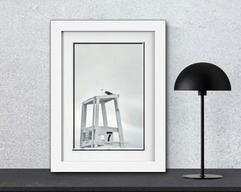 White Wall Art-B&W Print-Coastal Wall Art-Lifeguard Chair-Cape Cod-Fine Art Photography-Black White Coastal Art-11x16 Print-Vertical Print