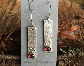 Balancing Garnet Sterling Silver Earrings