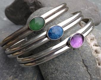 Sister Cuff Bracelet with Gemstone