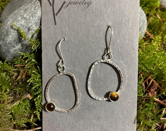 Oval Passage Earrings With Tiger's Eye