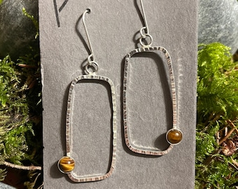 Rectangle Passage Earrings With Tiger's Eye