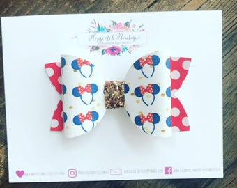 "Minnie Mouse Printed 3.5"" Hair Bow Headband"