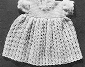 vintage crochet pattern baby dress shell fan stitch lace dk weight f hook short sleeves printable pdf download 1940