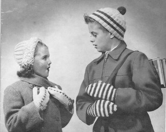 8aaf58c26c2 vintage knitting pattern boys toque girls clip cap loop stitch brim  childrens bonnet hat set 1 size 8 10 12 14 years dk yarn 1940 pdf
