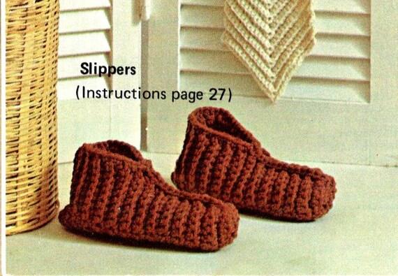Vintage Crochet Pattern Single Crochet Ribbed House Slippers Etsy