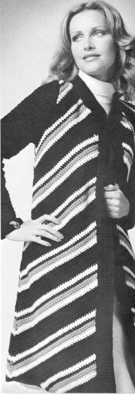7679811c71290 Vintage crochet pattern ladies diagonal stripe long sweater
