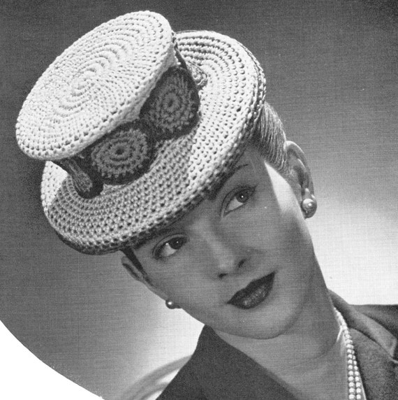 vintage crochet pattern ladies top hat fascinator 1940s style  bdae613001d