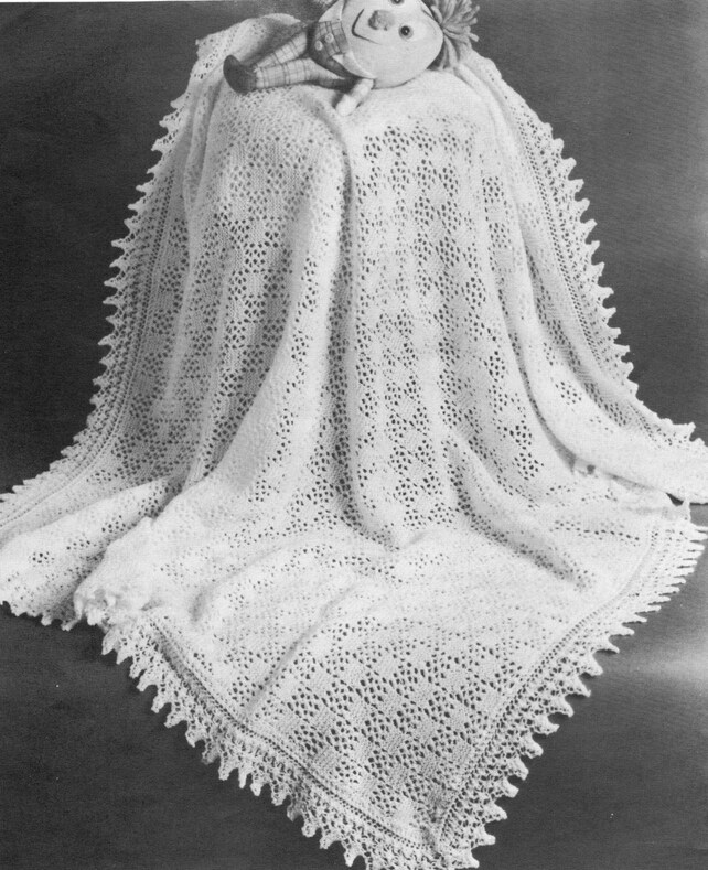 Vintage Knitting Pattern Eyelet Block Stitch Baby Shawl Etsy