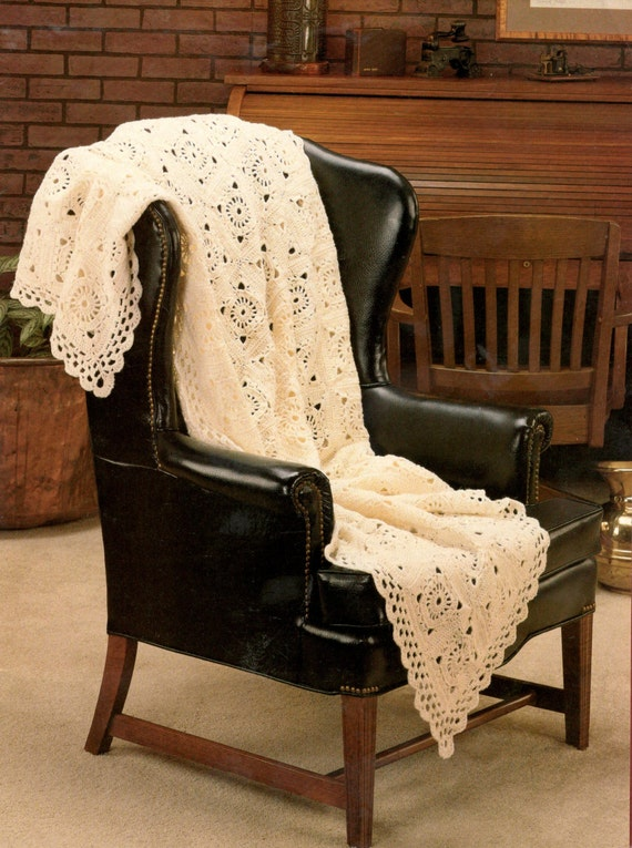 Vintage Crochet Victorian Lace Afghan Blanket Throw Coverlette Etsy