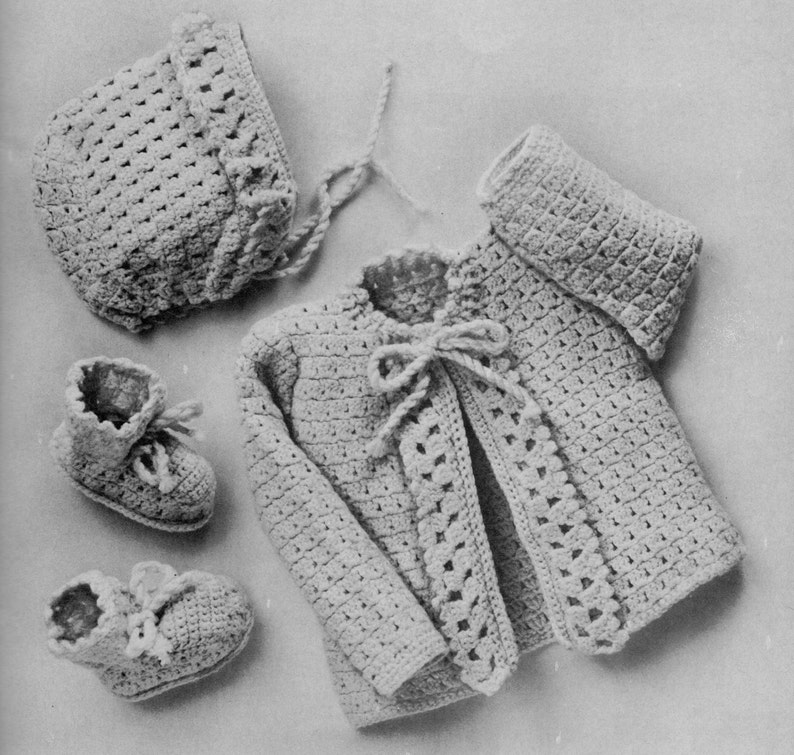 c644edfd340b Vintage crochet pattern baby layette set coat sweater booties