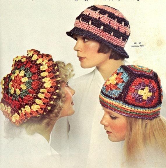 vintage crochet pattern ladies hat bundle set granny square  e3cd291bbe8