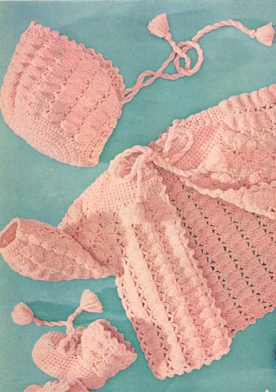 Crochet Pattern Baby Shell Stitch Lace Sweater Bonnet Hat And Etsy