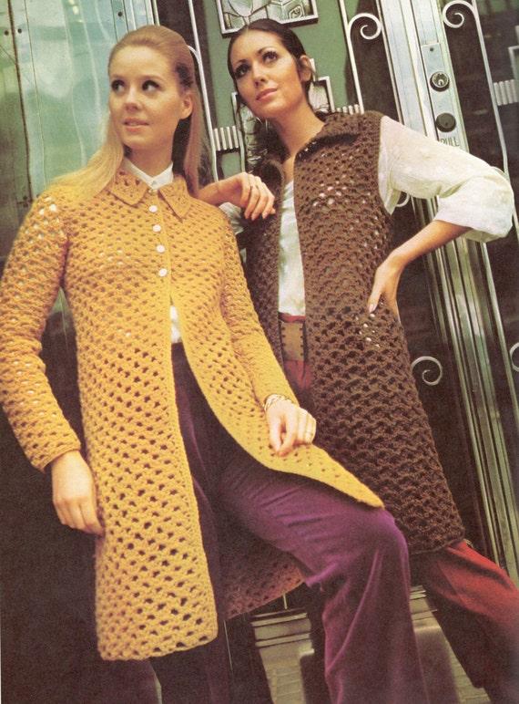 Vintage Crochet Pattern Sweater Coat Robe Shawl Wrap Buttoned Etsy