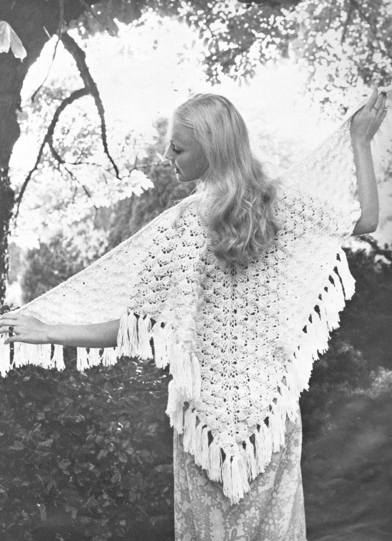 vintage crochet pattern shell fan stitch triangle lace shawl   Etsy