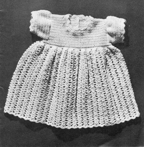 Vintage Crochet Pattern Baby Dress Shell Fan Stitch Lace Dk Etsy