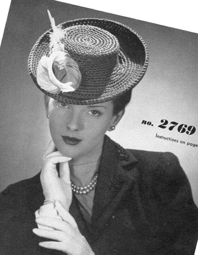 vintage crochet pattern ladies hat fascinator 1940s style  87861ad9942