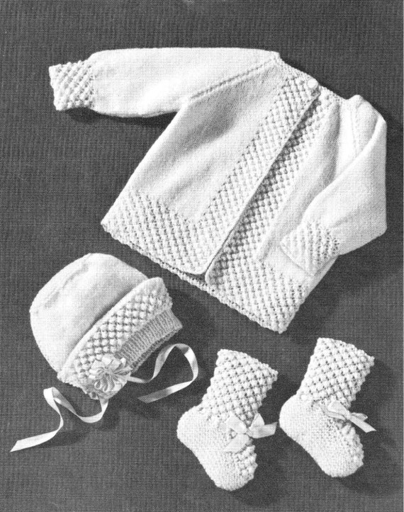 Vintage Knitting Pattern Baby Layette Set Popcorn Boarder Baby Etsy