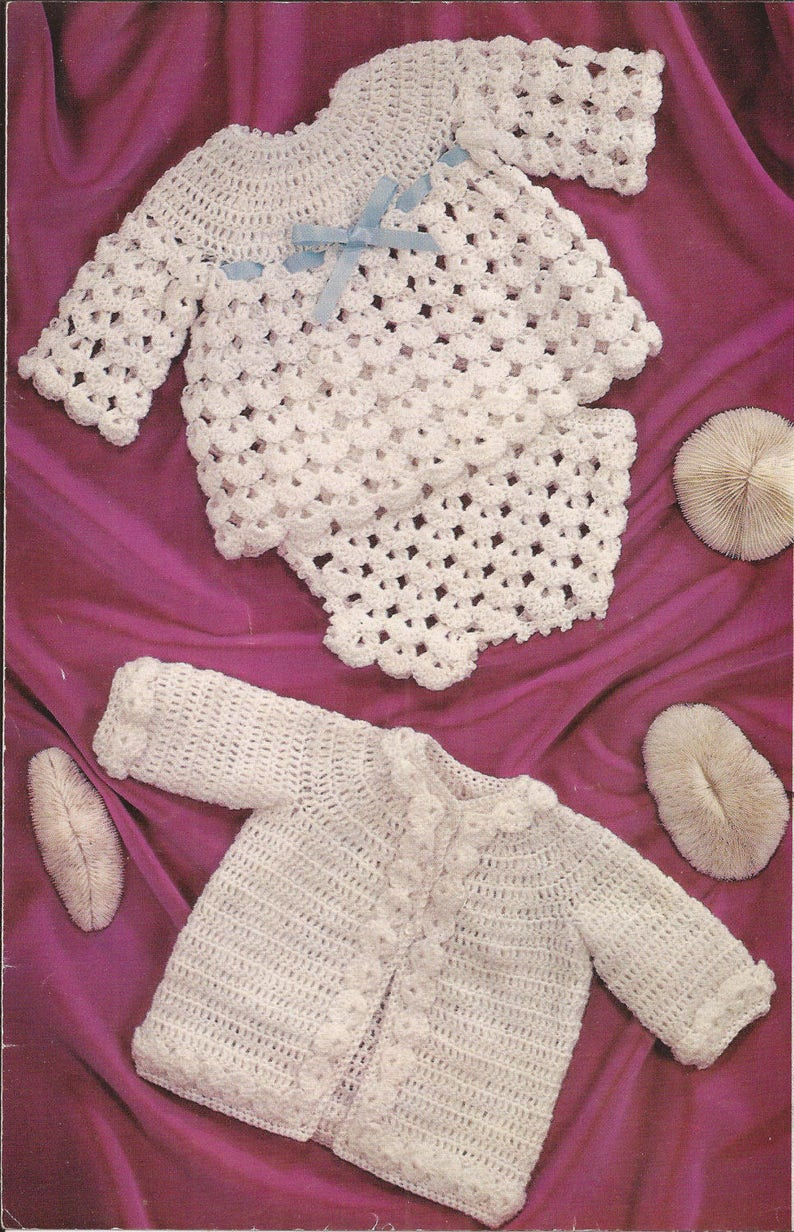 146df733cb31b Crochet pattern baby cardigan dress soaker vintage baby