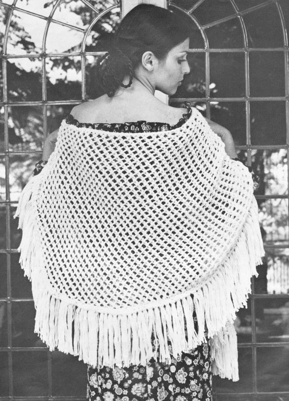 vintage knitting pattern half moon eyelet lace knit shawl 1960 | Etsy