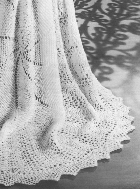 Vintage Knitting Pattern Circular Round Lace Baby Shawl Etsy