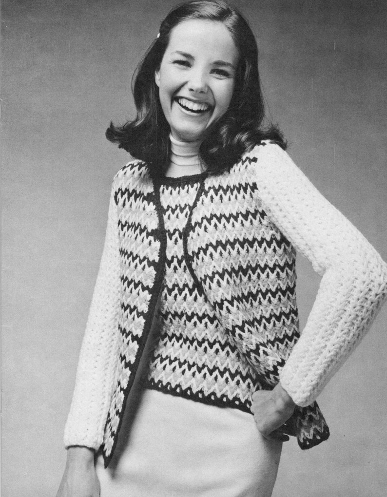 Vintage Crochet Pattern Ladies Womens Shell Shirt And Cardigan Etsy