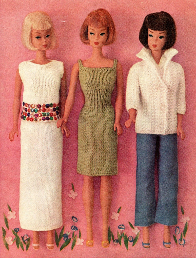 photograph regarding Printable Barbie Clothes Patterns named Barbie doll knitting practice, barbie clothing, dolls dresses, traditional knitting practice, barbie knits, printable pdf fast obtain 1960s