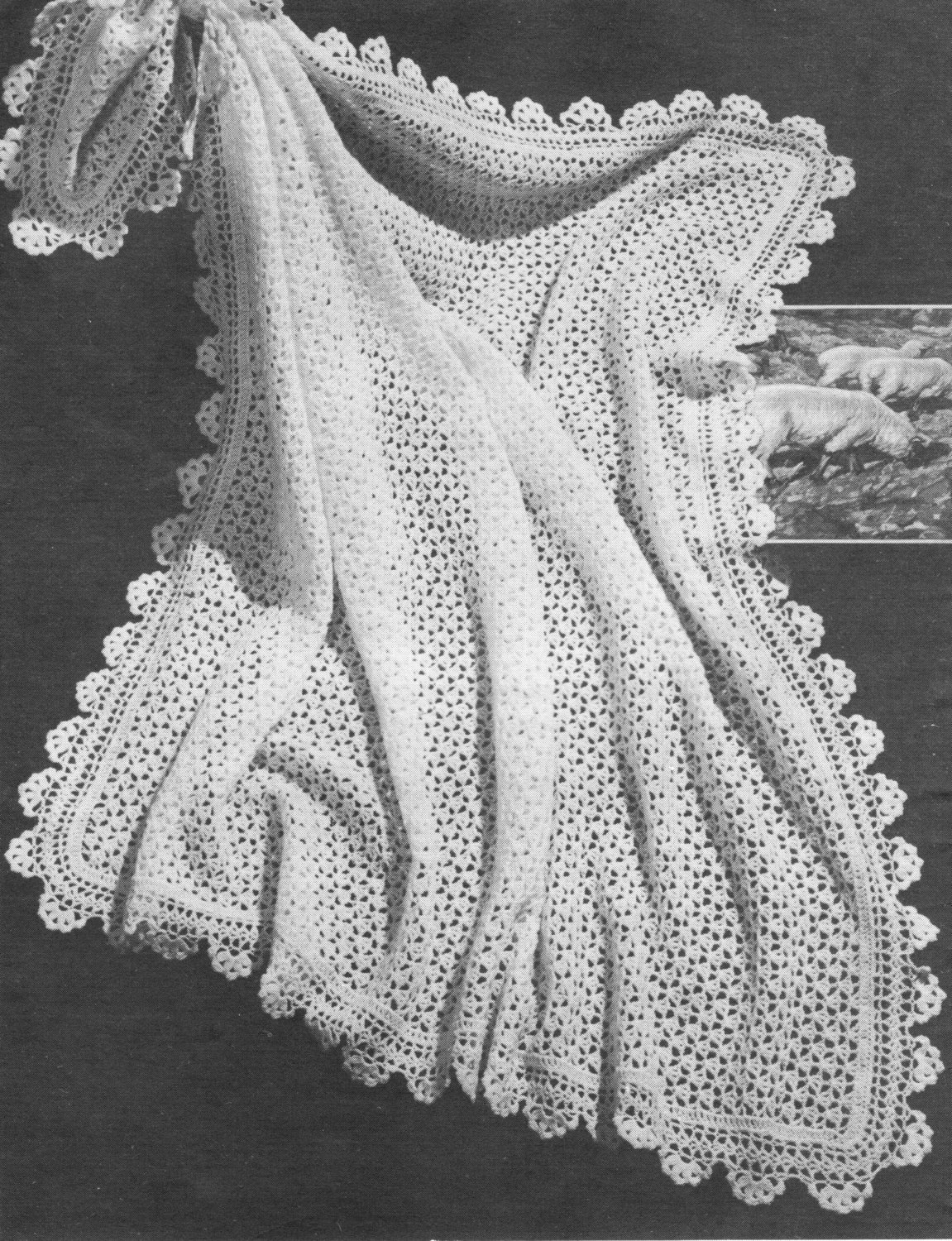 Vintage Crochet Pattern Lace Baby Shawl Blanket With Scalloped Etsy