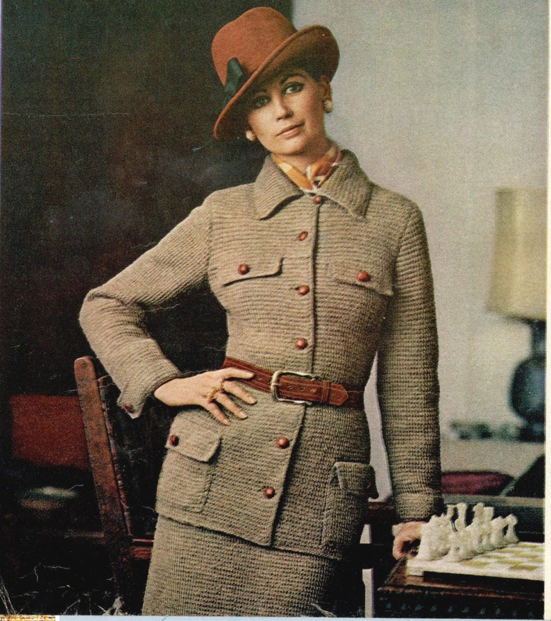 b70bb0002e9 Vintage tunisian crochet pattern ladies tailored 2 piece suit