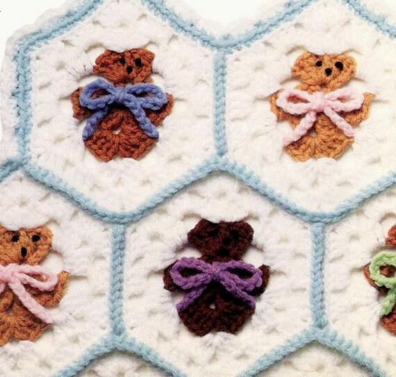 Vintage Crochet Pattern Hexagon Teddy Bear Afghan Blanket Etsy