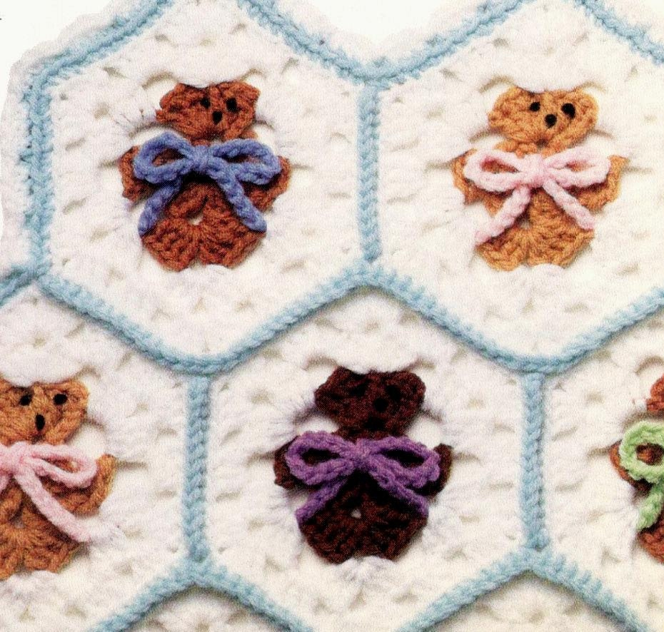 Vintage Crochet Pattern Hexagon Teddy Bear Afghan Blanket Etsy