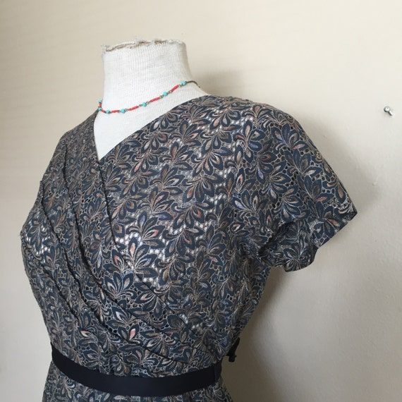 1950s sheer eyelet form fitting dress